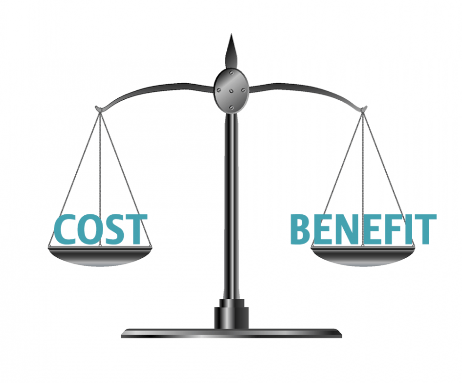 Old fashioned scales with words Cost & Benefit balancing each other.
