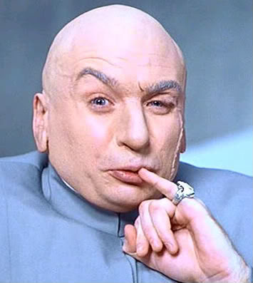 Photo of Doctor Evil with his ring-clad little finger at the corner of his mouth
