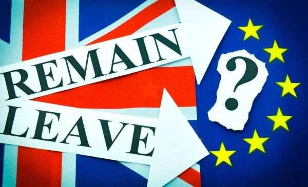 A combined Union Jack & EU flag: 60% Union Jack & 40% EU. Remain & Leave arrows on the Union Jack side pointing as if advancing towards a large question mark on the EU side.