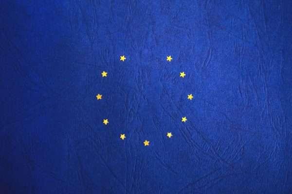 EU stars on blue embossed material