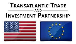Photo of US flag alongside the EU flag with a caption above of: Transatlantic Trade & Investment Partnership
