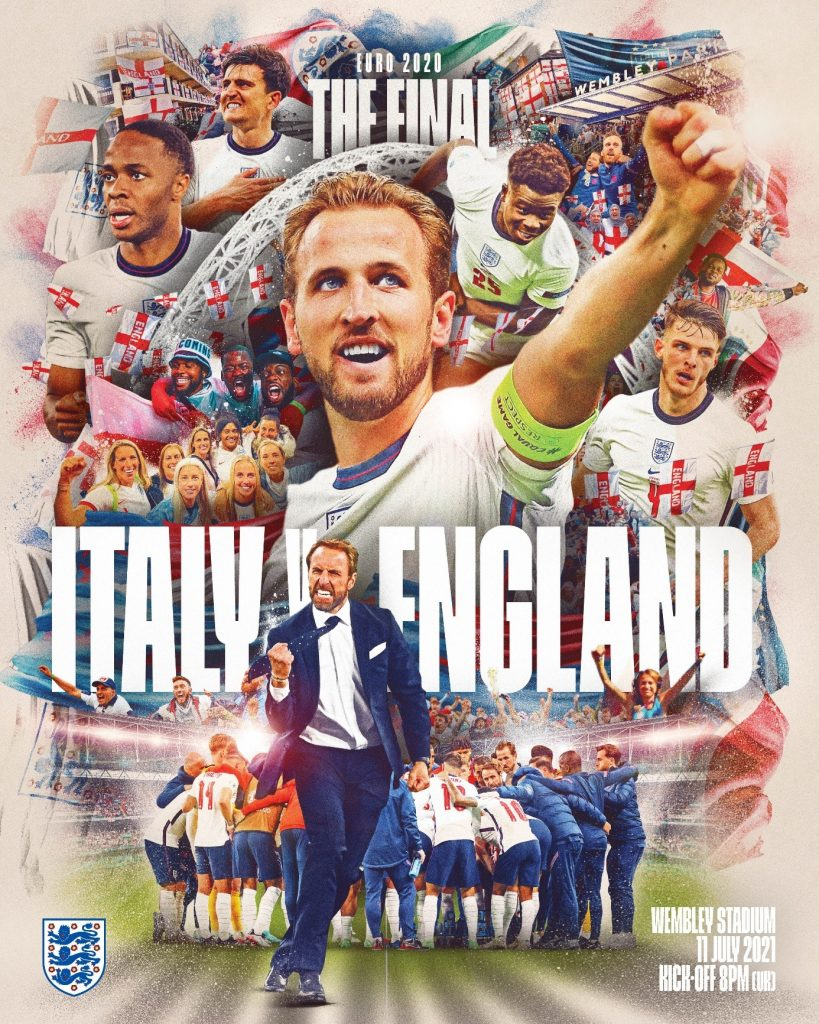 England Italy Euro 2020 final poster